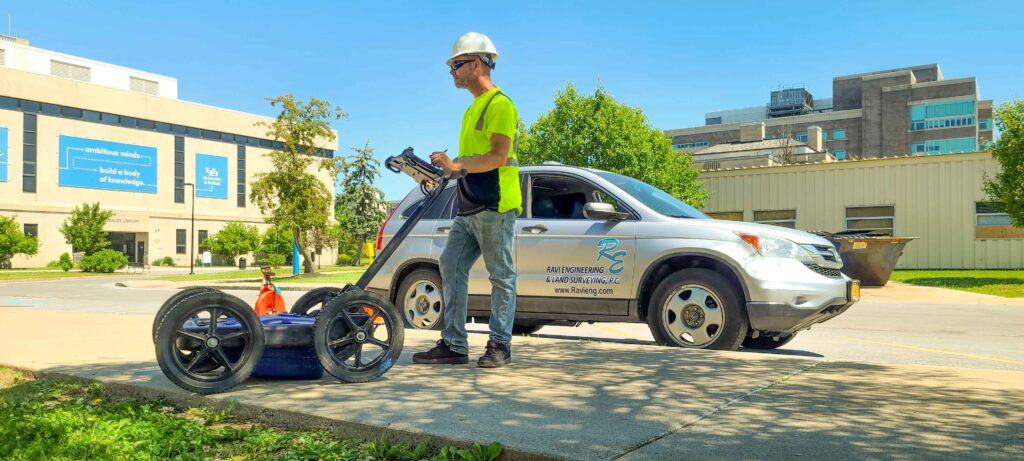 Using ground penetrating radar to map obstructed and concealed utilities.